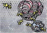 芸術的なスズメバチの巣 hspace=