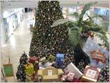 椰子の木とクリスマスの飾り