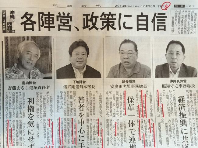 沖縄県知事選挙 各陣営目標票数目標投票率
