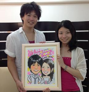 似顔絵ウェルカムボード 大阪市から 九州の同級生カップル