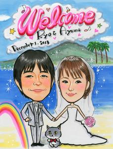 虹の入った桜島が背景の似顔絵ボード、猫も一緒~大阪市のお客様