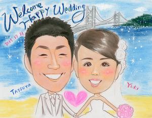 明石海峡大橋を背景のパステルタッチの似顔絵ボード~加古川市からのお客様