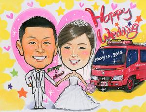 消防車と一緒の絵の具タッチの似顔絵ボード 和歌山県海南市からのお客様