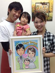 お子様も一緒の似顔絵ウェルカムボード~奈良県香芝市からのお客様