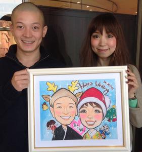 ゆるキャラと一緒のクリスマスバージョン似顔絵ウェルカムボード~川西市のお客様