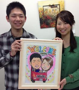 消防車に乗った絵の具タッチ似顔絵ウェルカムボード、茨木市からのお客様