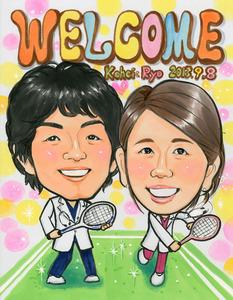 趣味のテニスバージョン似顔絵ウェルカムボード~大阪市のお客様