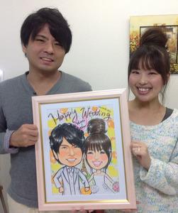 ご来店制作、似顔絵ウェルカムボード絵の具タッチ 大阪市のお客様の声