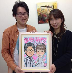 桜を背景にした絵の具タッチ似顔絵ウェルカムボード~堺市からのお客様