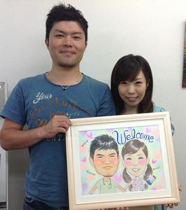 パステルタッチの似顔絵ウェルカムボード~和泉市からのお客様