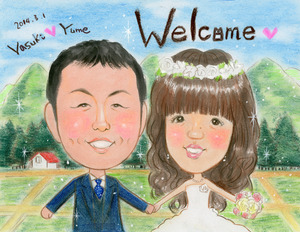 トトロ風田園風景のパステルタッチ似顔絵ウェルカムボード~大阪市のお客様