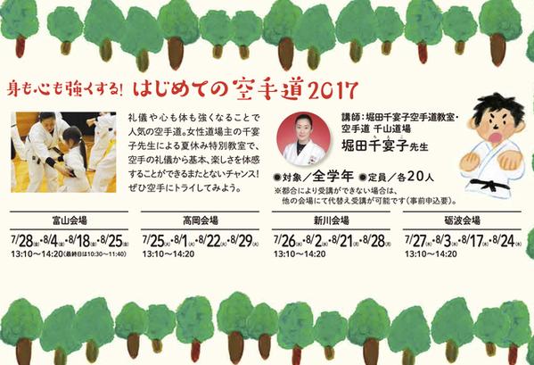 2017北日本新聞夏休み教室空手道バナー