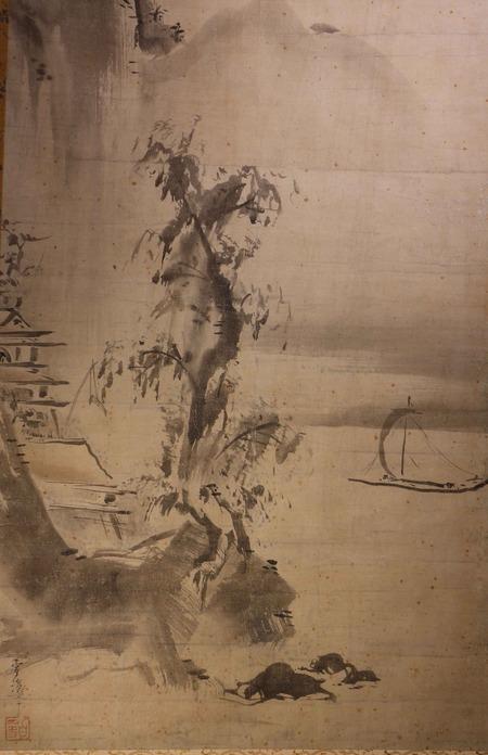山口雪渓筆水墨山水図4