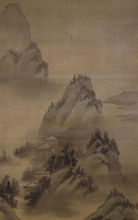 鏑木雲潭筆水墨山水図双幅左幅4