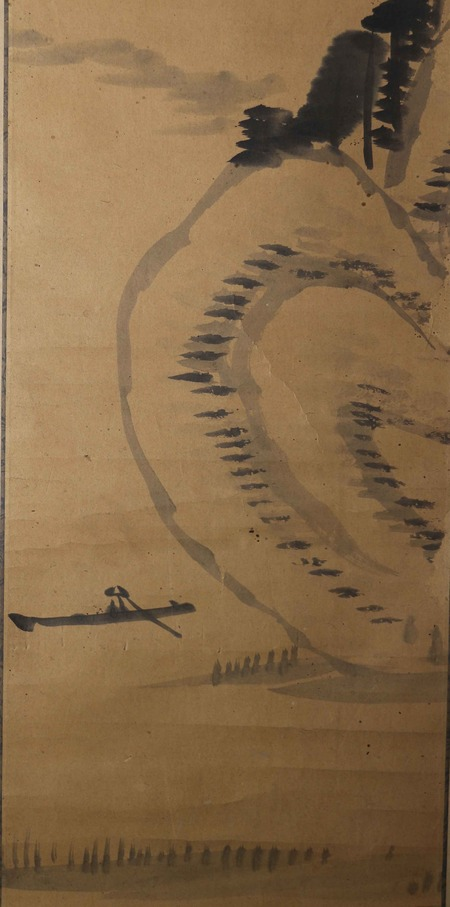 東條琴台筆水墨山水図自画讃3