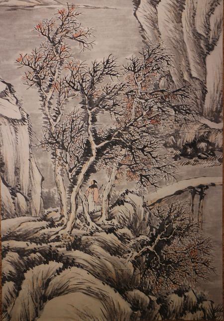 森琴石筆水墨山水図大幅3