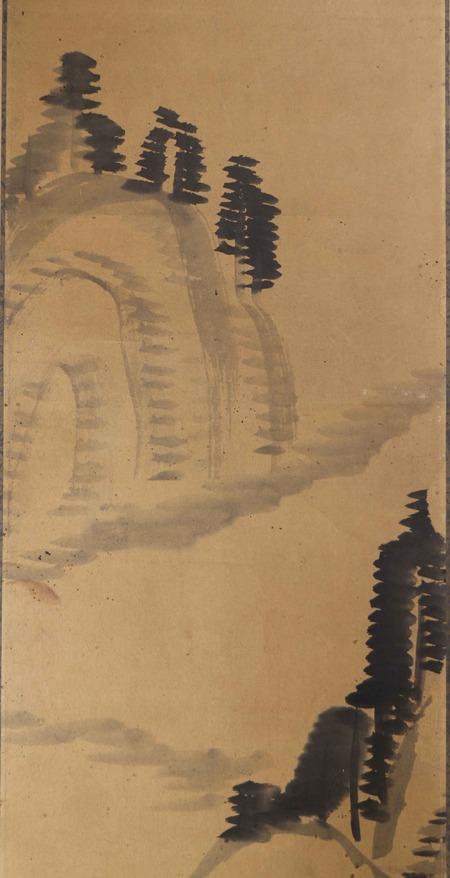 東條琴台筆水墨山水図自画讃4