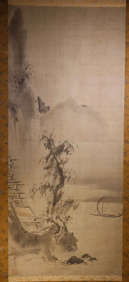 山口雪渓筆水墨山水図1