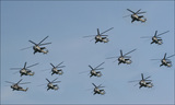 建国記念広場上空に飛来した戦闘ヘリコプター