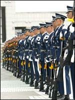 整列する各軍の儀杖隊員