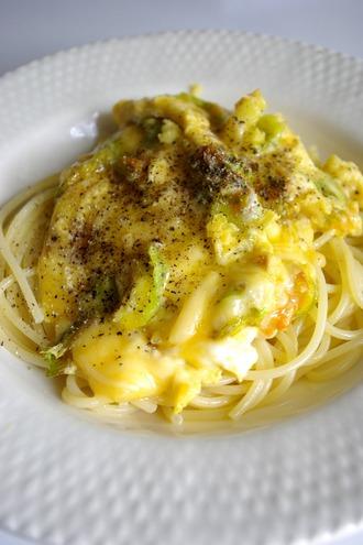 2013.05.13 zucchini blossom & egg pasta