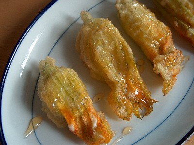 feta-stuffed zucchini blossoms with honey