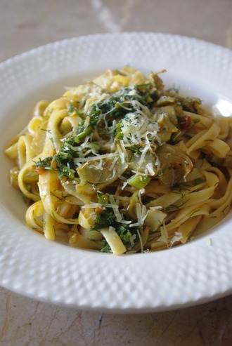 2015.05.19 pasta with chicken, artichoke & fennel