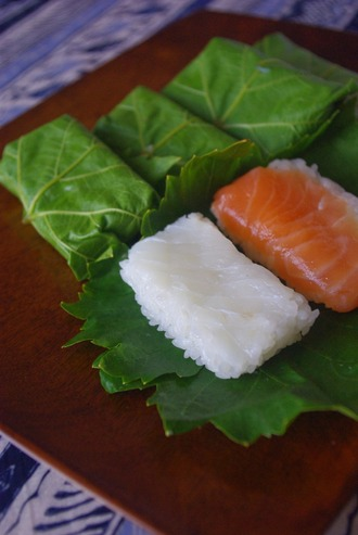2014.05.21 vine leaf wrapped sushi