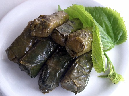mulberry-leaf dolmades