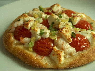 prawn, pomodorini & feta pizza