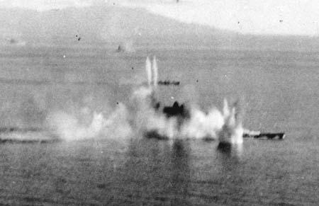 攻撃を受ける戦艦武蔵