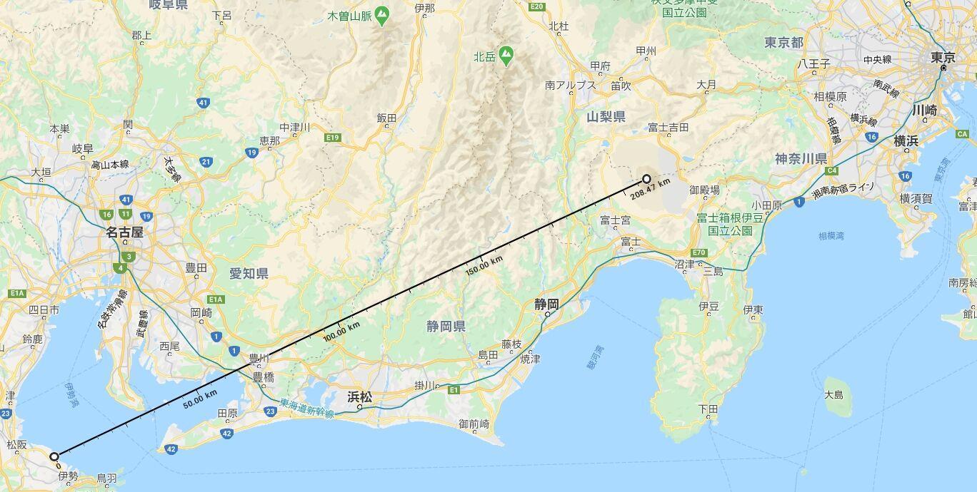 撮影地と富士山の位置関係