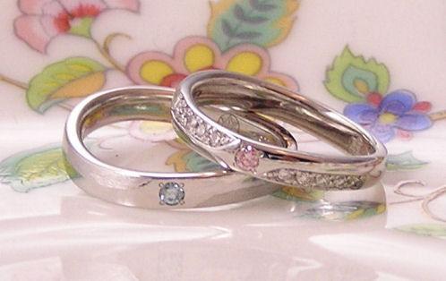 ピンクダイヤの結婚指輪