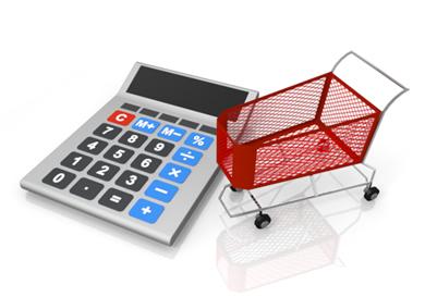 電卓とショッピングカート