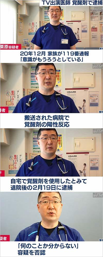 【驚愕】覚醒剤使用疑いで医師を逮捕!テレビにも多数出演していた…