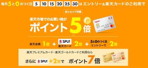 【楽天】楽天0、5のつく日&スーパーSALEでポイントがお得!