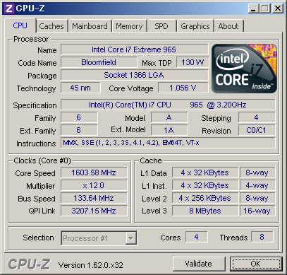 Core i7 965 Extreme Editionのスペック
