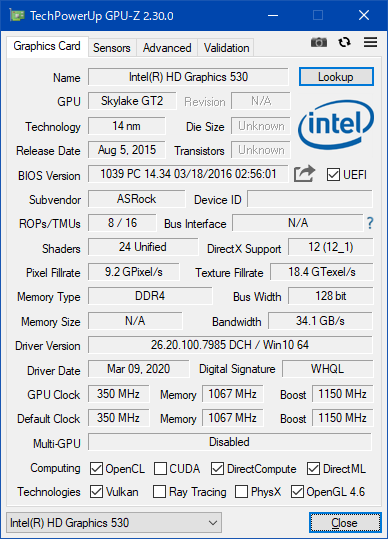 Intel HD Graphics 530