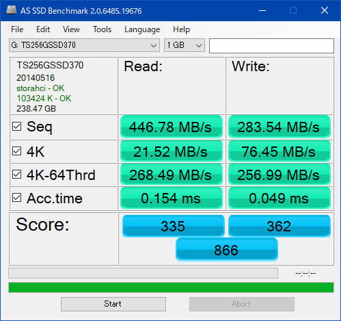 TS256GSSD370_AS SSD Benchmark