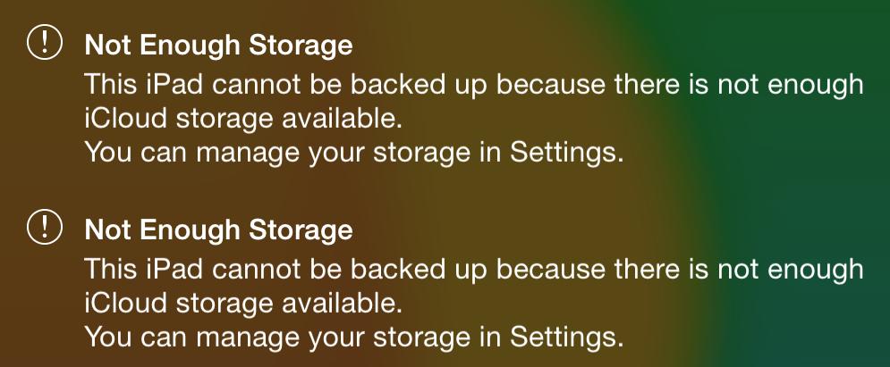 iCloudの空き容量が不足してバックアップができない状態! - Not Enough Storage