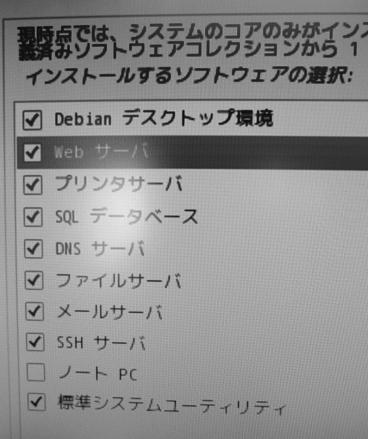 Debian ソフトウェアの選択