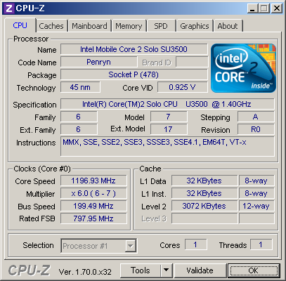 Core2 Solo SU3500(1.4GHz)