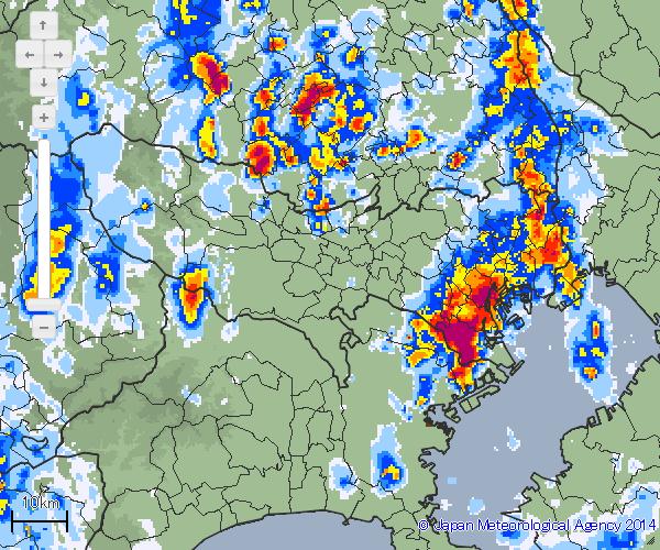 東京でも強雨の箇所がある
