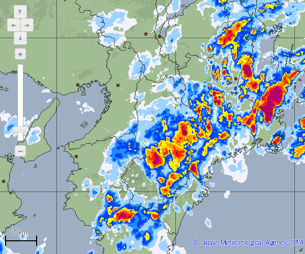 奈良南部や三重でも強雨
