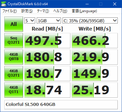 Colorful_SL500_640GB_速度計測_2018年6月