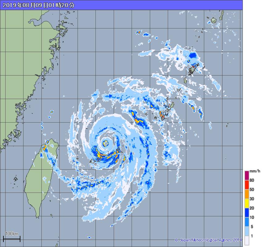 雨雲の動き_台風9号_2019年8月9日