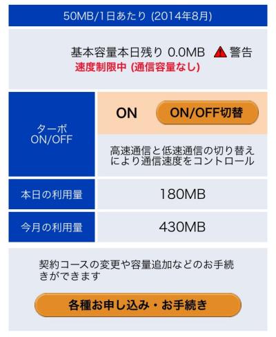 基本容量本日残り:0.0MB(速度制限中)