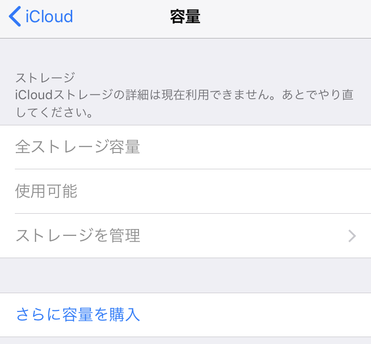 iCloudストレージの詳細は現在利用できません。