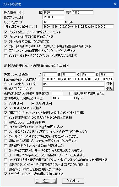 システムの設定_AviUtl_v1.10rc1
