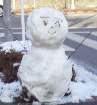 雪その後。ゆきだるまがありました。